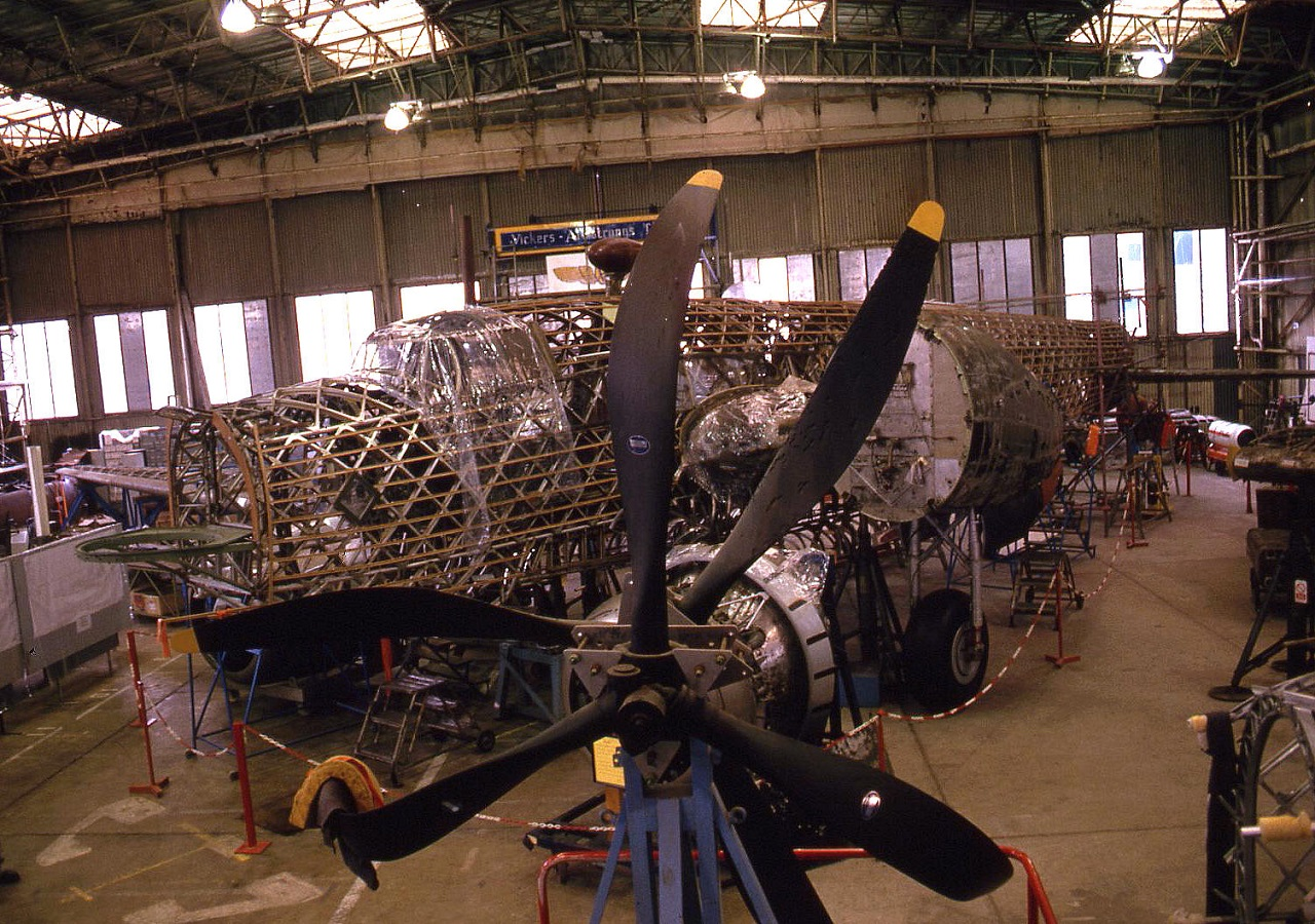 The Vickers Wellington bomber being restored in 1993