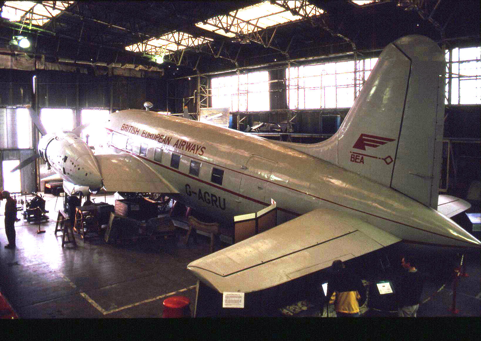 The BEA Vickers Viking G-AGRU under restoration in 1993