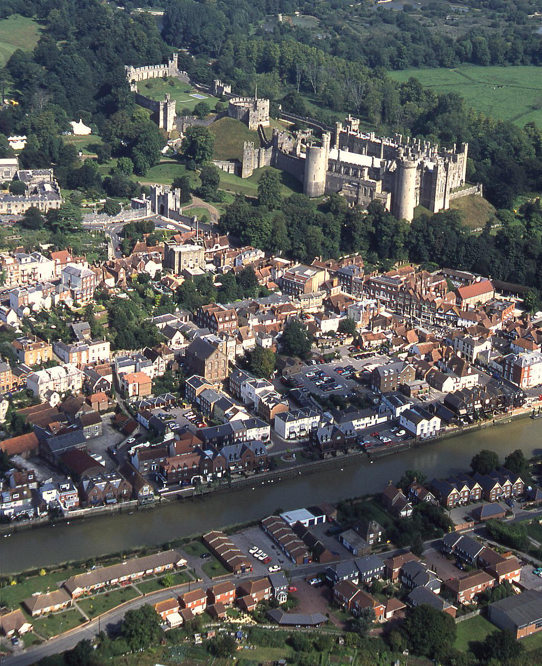Arundel and castle beyond in 2001
