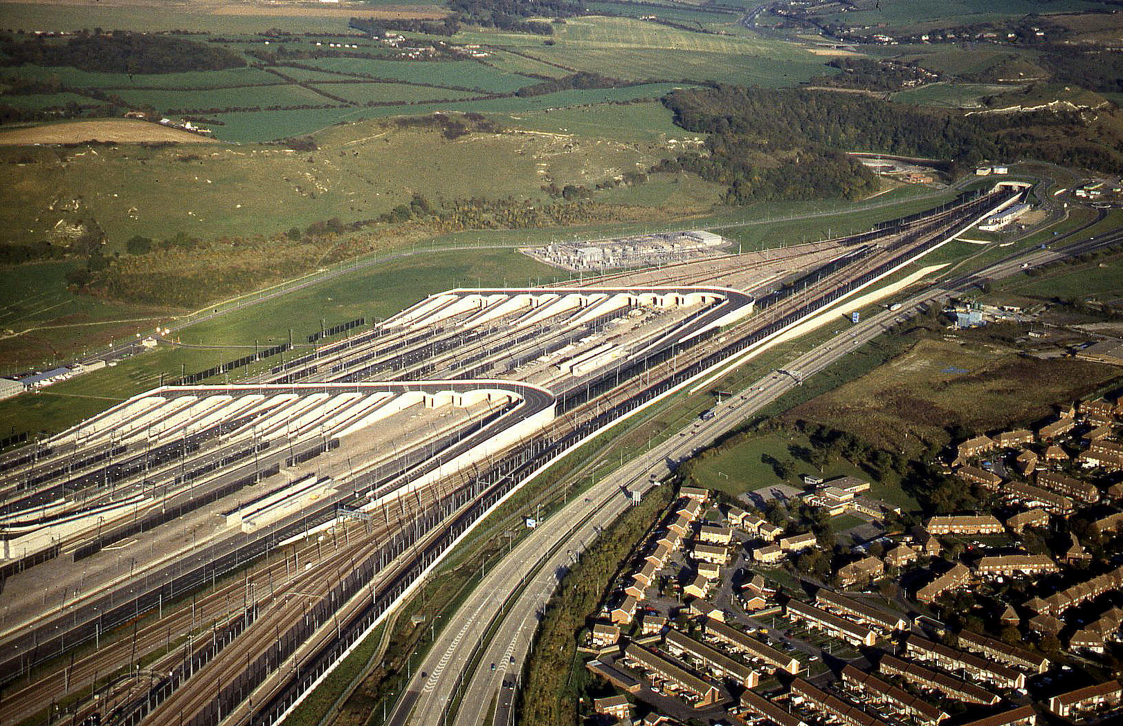 The Channel Tunnel terminal, Folkestone, in November 1995