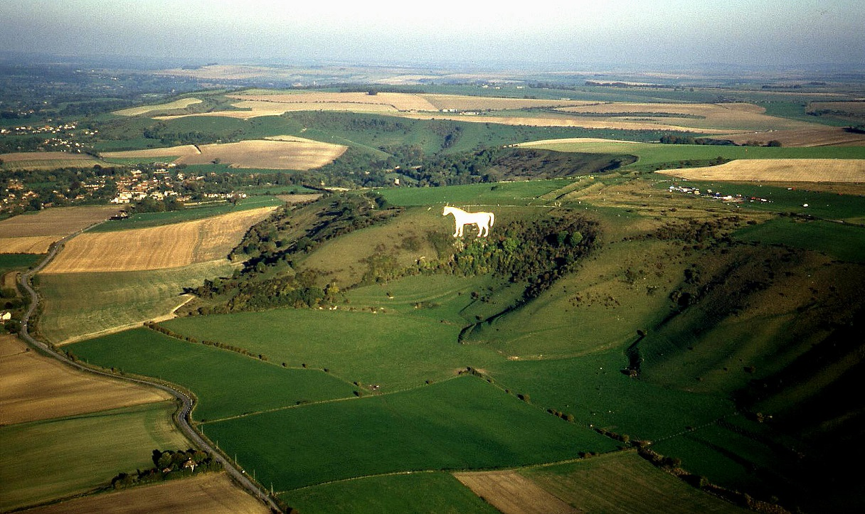 The 'White Horse' monument near Westbury in Wiltshire, circa early 1990s