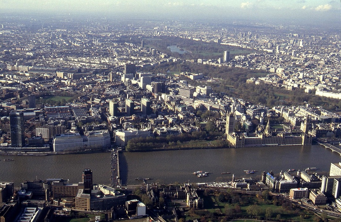 Central London, Westminster, Nov 1993. Including the Houses of Parliament and Buckingham Palace