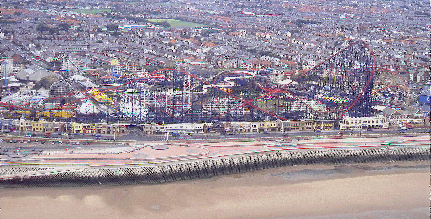 Blackpool Pleasure Beach seen on a dull day in 2003