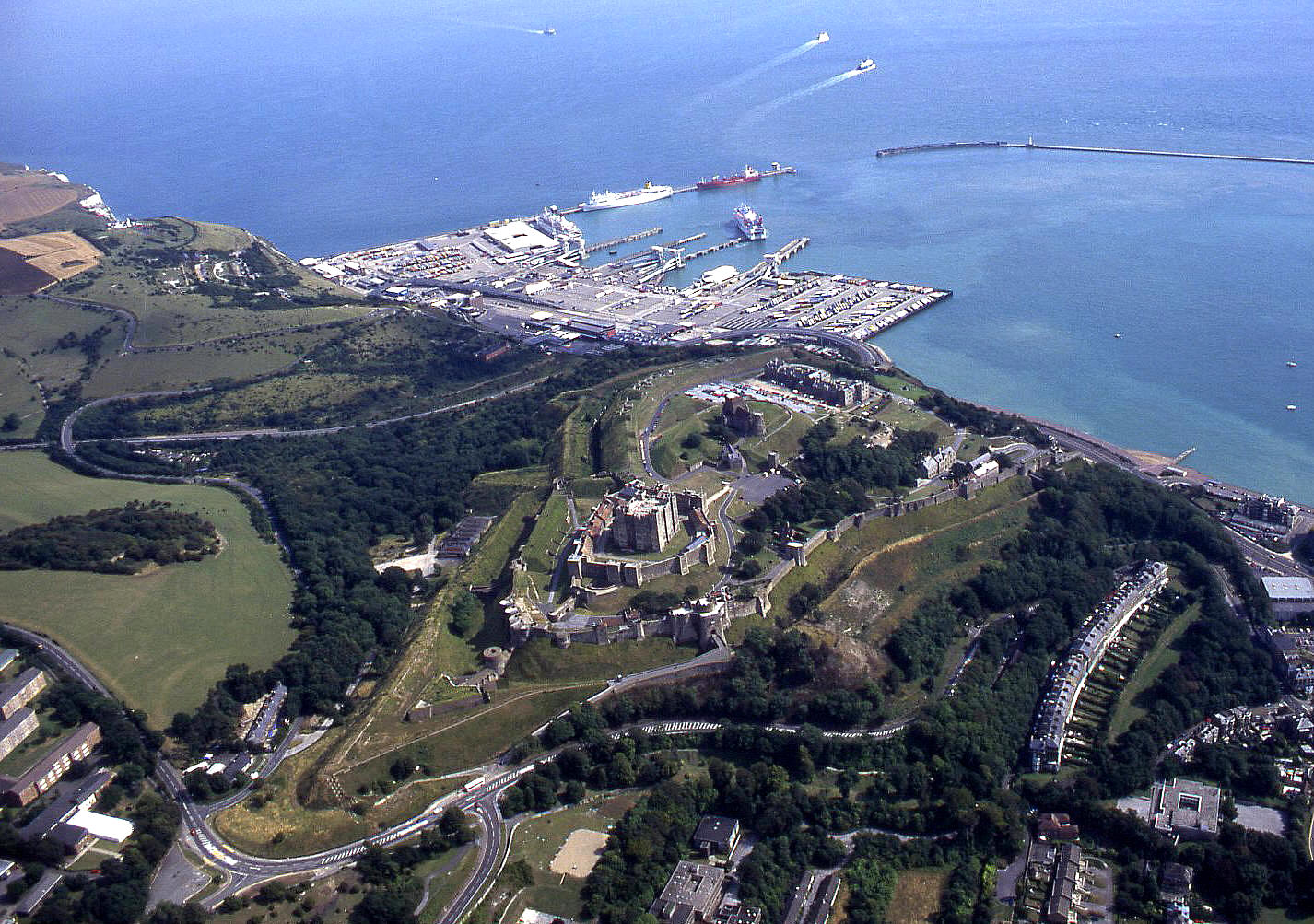 Dover castle & ferry port, September 1996