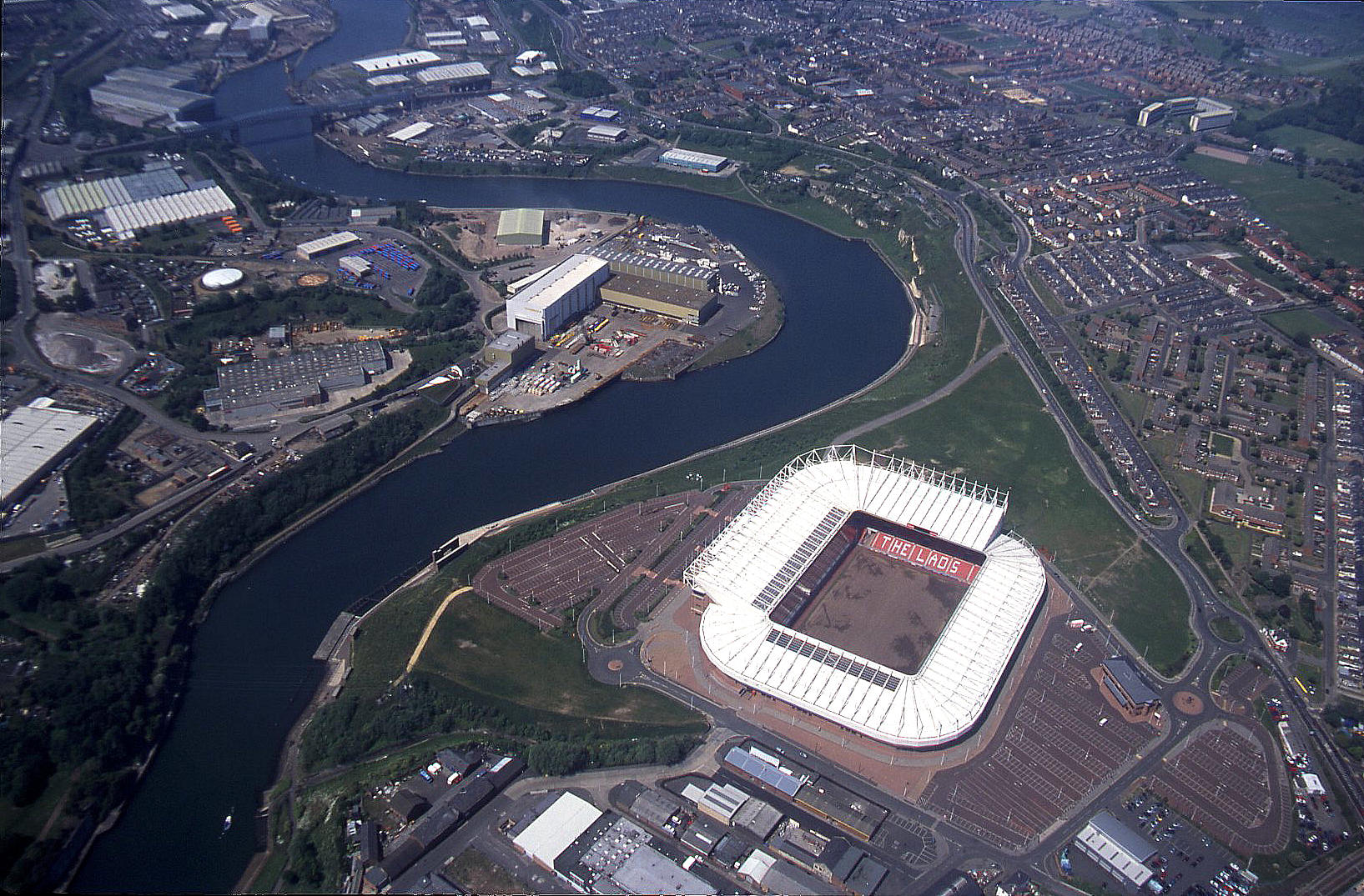 The centre of Sunderland with the football stadium in 2004