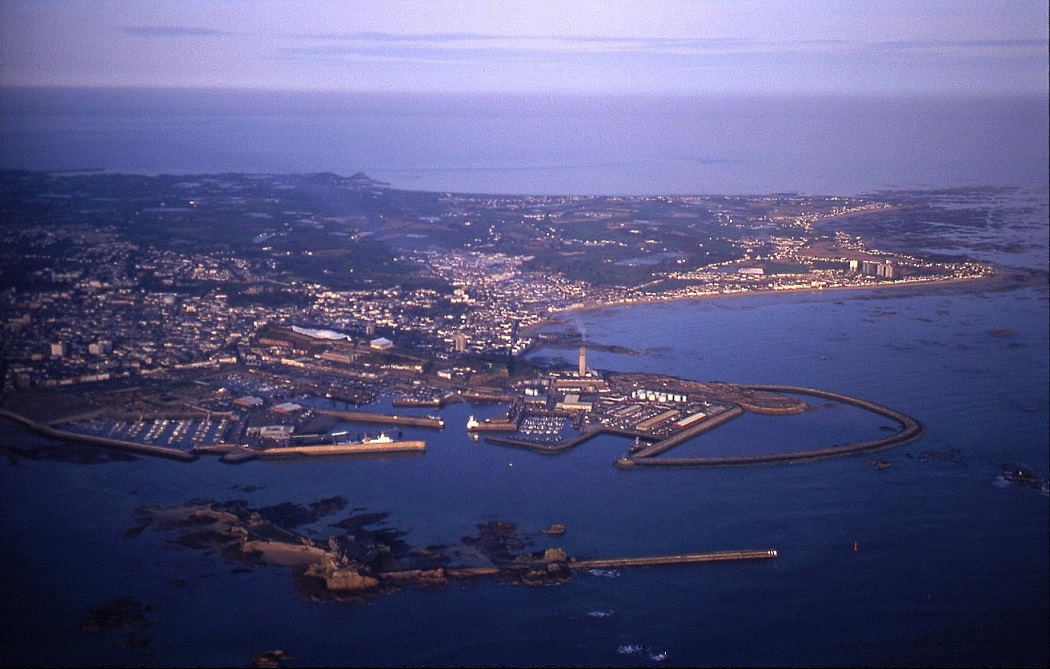 St Helier, Jersey, seen in the evening when departing for Dinard, April 1999