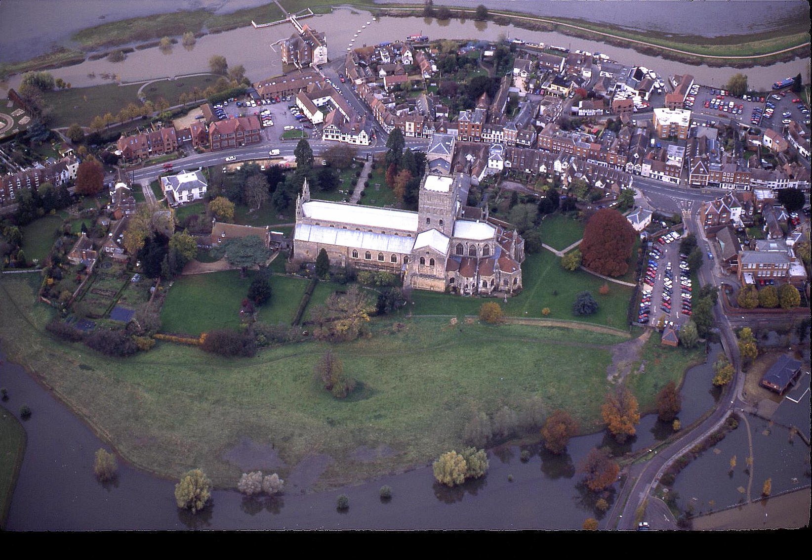 Tewkesbury Abbey, Gloucestershire, during the floods in October 1998. See note 6