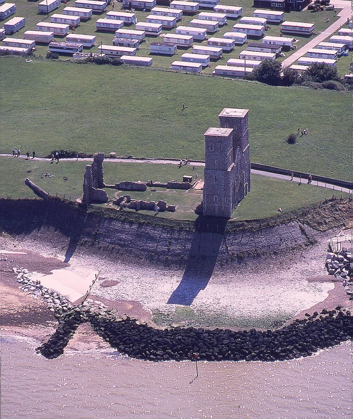 Reculver Towers and Roman fort, east of Herne Bay, Kent