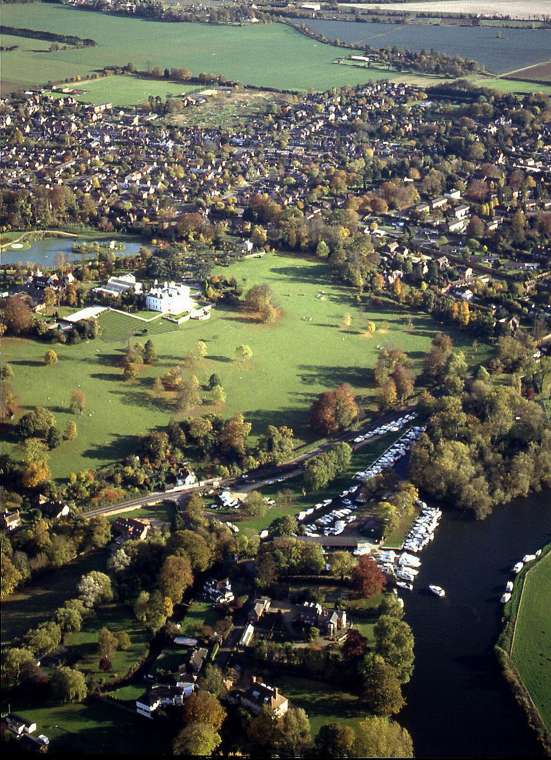 A view, from the north, of Wargrave on the river Thames in 1994