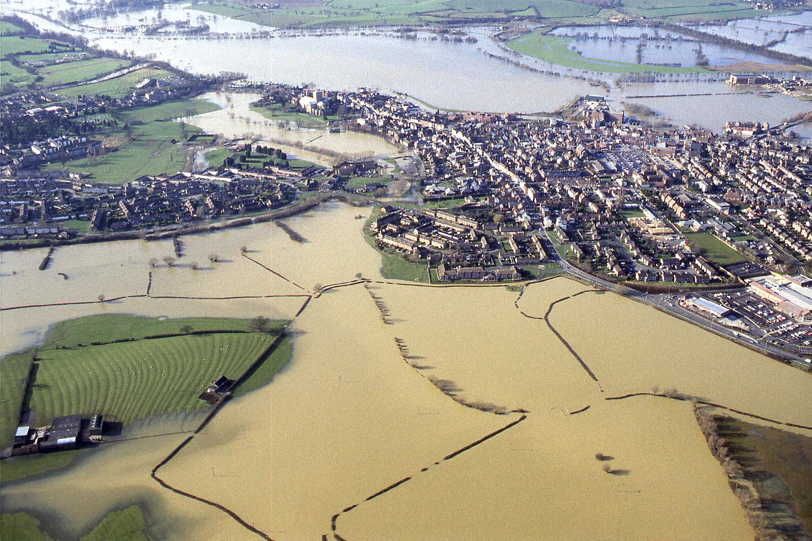 Tewkesbury in the 1995 floods. See note 6