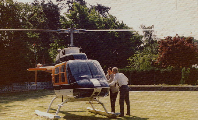 Dr Alec Wortley about to have his first helicopter flight in 1976