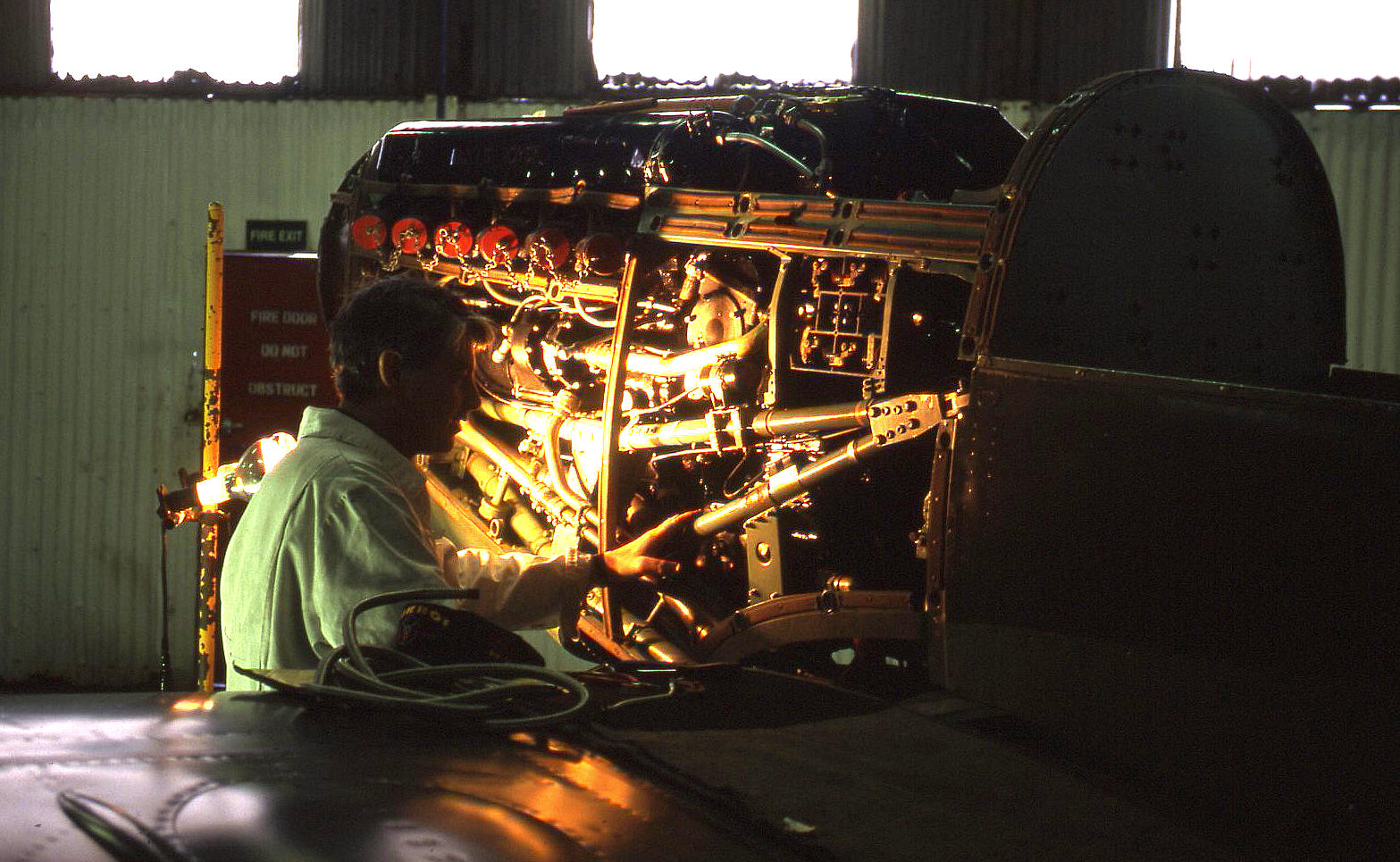 Working on a Merlin (Spitfire) in 1999