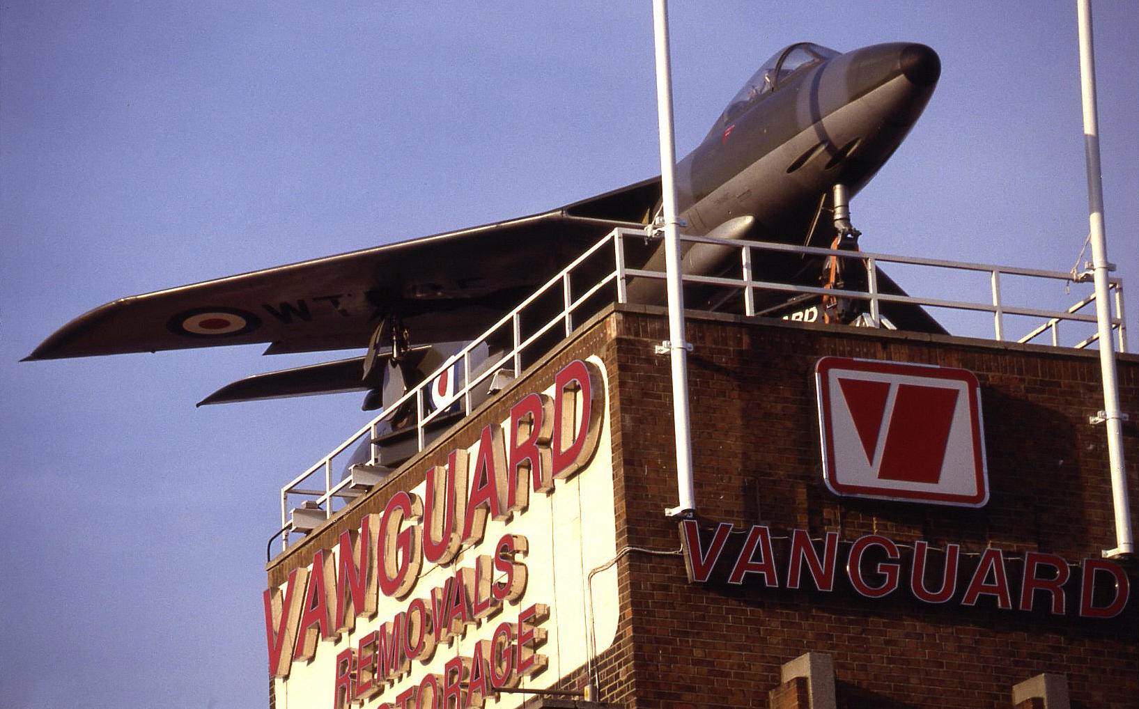 The Hawker Hunter F.1 on the Vanguard tower